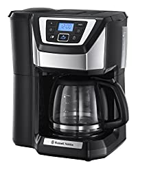 Russell Hobbs Digitale Kaffeemaschine Victory Grind&Brew, Mahlwerk für Kaffeebohnen, Mahlgradeinstellung, programmierbarer Timer, bis 12 Tassen, 1,5l Glaskanne, 1025W, Kaffeeautomat 22000-56