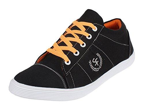 casual chaussures baskets pour hommes de conduite pantoufle d'orange lacer les chaussures en toile Bleu et orange