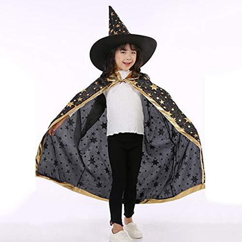 Magier Männlich Kostüm - AUEDC Halloween Umhang Cape, Fünf-Sterne-Umhang Kleid Set Cosplay Kostüm Hexe Dress Up Magier für Kinder Kinder Party Dress up,Schwarz
