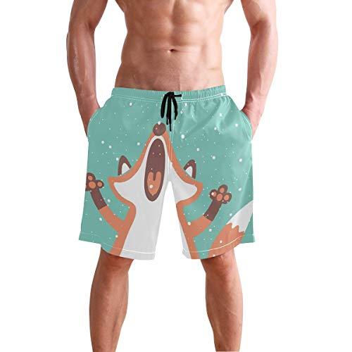 BETTKEN Men's Beach Shorts Cute Animal Fox