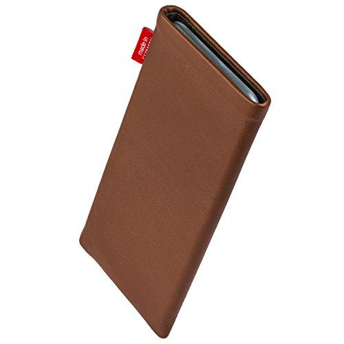 fitBAG Groove Pink Handytasche Tasche aus feinem Folienleder Echtleder mit Microfaserinnenfutter für Apple iPhone 6 Plus / iPhone 6S Plus 5,5 Zoll mit Apple Silikon Case Beat Cognac