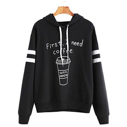 OVERMAL Damen Langer Hülsen Buchstabe Druck beiläufiger Sweatshirt Mit Kapuze Pullover Tops (XL, Schwarz # 7) -