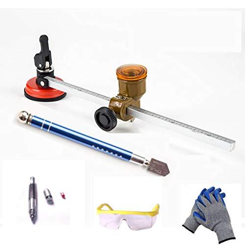Kreisglas Cutter Tool Kit, 5 Stück Set DIY Tool zum Schneiden von Rundglas, Aluminiumlegierung und Hartmetallspitze-Zubehör Tool Kit, Glasschneider, Gravur Pen, Schutzbrille, Handschuhe -