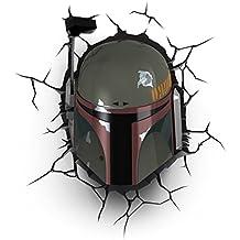 Star Wars Boba Fett 3D lámpara de pared con mando a distancia