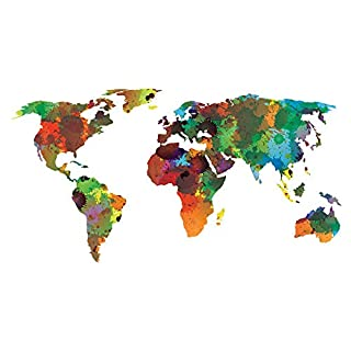azutura World Map Wall Sticker Water Colour Wall Decal Art Living Room Home Decor available in 8 Sizes XXX-Large Digital