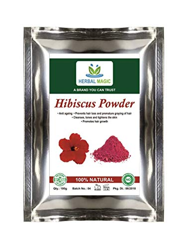 Herbal Magic's 100% Pure & Natural Pesticide Free 100G Hibiscus Powder Pink Colour Shoe Flower - Anti- Greying - Hair Loss Anti Ageing Growth Thick & Bouncy Locks Anti Dandruff