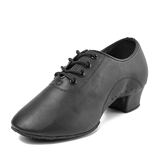HIPPOSEUS Chico Zapatos de Baile Latino y Moderno, tacón bajo 3.5CM (1.37inches),ES701,Negro Color,EU 41