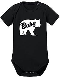 LittleBigFamily Papa Mama Baby Bär - Vater Mutter Kind - Shirts und Body Für EIN Partnerlook Outfit Schwarz