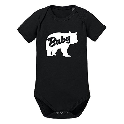 LittleBigFamily - Papa Mama Baby Bär - Vater Mutter Kind - Shirts und Body für EIN Partnerlook Outfit - Baby Body Kurz Schwarz 04-06 Monate (Baby Outfit Ideen)