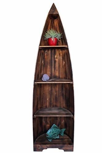 Exotisches Holz Bootsregal Regal Boot dunkelbraun 195cm