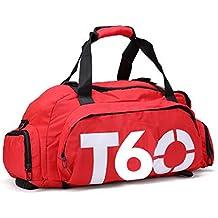 Ynxing high-capacity borsa sportiva | spalla, portatile, doppio della borsa yoga | uomini e donne fitness borsa con scomparto per scarpe da viaggio borsa sportiva, Red