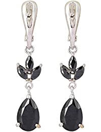 Aaishwarya Silver Toned Tear Drop Black Crystal Dangler Earring For Women/Girls