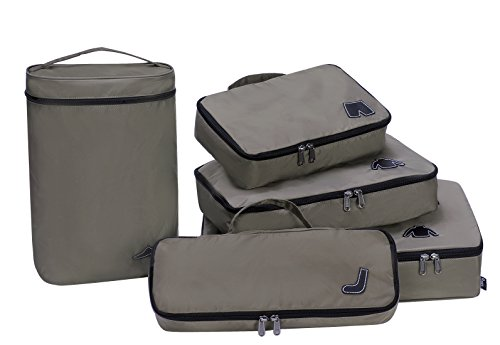 Water Resistant Travel Packing Cube Organiser Bags No Mesh 5-Piece Set with Shoe Bag for Backpacking Carry on Suitcase Luggage for men (Large/Medium/Small/Slim, Dark Khaki)