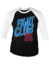 a2153f68af343 Fight Club Officially Licensed Project Mayhem Baseball Long Sleeve T-Shirt  (White Black