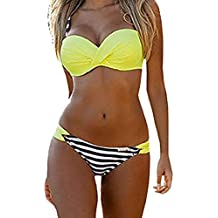 72a15db553 Dokotoo Maillot de Bain 2 Pièces Femme Sexy Push Up Bandage Bikini  Amincissant Imprimé Halterneck Triangle