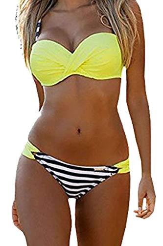 Dokotoo Maillot de Bain 2 Pièces Femme Sexy Push Up Froncé Bandage Bikini à Rayures Amincissant Bandeau Imprimé Halterneck rayé Triangle Chic Eté New 2019, Jaune 2, L(EU44-46)