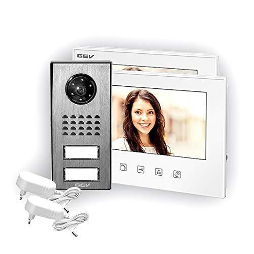 GEV 88351 2-Familienhaus Video-Türsprechanlage CVS, 230 V, Silber/weiß