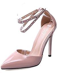 SHINIK Mujeres Ankle Strap Bombas De Tamaño Grande Zapatos Femeninos Pies Alrededor De Encanto Hueco Pointed Tacones De Alto Sandalias Cono Heel Corte Zapatos Damas Bombas Albaricoque Negro , apricot , 40