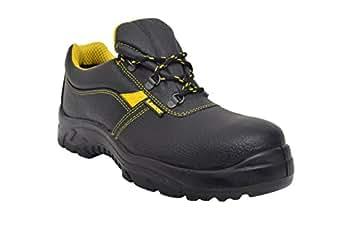 Lancer 103LA Men's Safety Shoe with Steel Toe Cap, Size-6 UK, Black