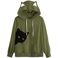 Luckycat Sudaderas con capucha para Mujer Gato con Mejor Venta Sudadera con Capucha Tops Blusa SeñOra Arriba