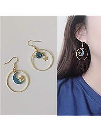 6a6801709296 Earrings Home Lindos aretes Temperamento Simples Originales Hechos a Mano  Gota de Aceite Azul sueño Estrella
