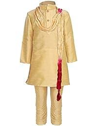 JBN Creation Boys Cotton Silk Kurta and Pyjama Set (Gold_VASBKP022new)