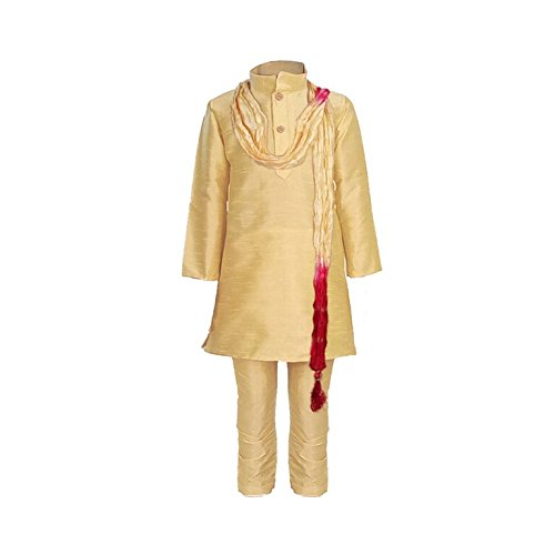 JBN Creation Boys Raw Silk Kurta Pyajama with Matching Dupatta (VASBKP022new_32_Gold_11-12 Years)