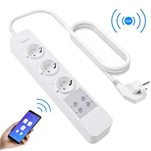 Smart Steckdosenleiste, Atuten Wifi Wlan Intelligente Alexa Smart Steckdose, 3 Intelligenten AC-Ausgänge Wireless Fernbedienung, Timing-Funktion, Kompatibel mit Alexa, Google