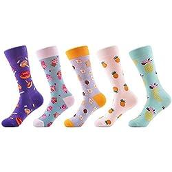 FHCGWZ 5 unids/Set Patrón Colorido de la piña del buñuelo de Las Mujeres Calcetines Divertidos Preciosos Calzoncillos Ocasionales de la Boda de Las señoras para
