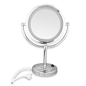 floureon 8 5 pouces miroir grossissant x10 lumineux led avec support 360 degr s rotation. Black Bedroom Furniture Sets. Home Design Ideas