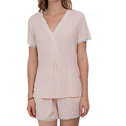 Frauen Nachtwäsche V Kragen Pyjamas Stricken Fiber Home Kleidung Nachtwäsche Set Lounge Jogging Stil Pyjama, pink, XL - Stricken Lounge-set