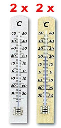 Thermometer Innen Holz (TFA Dostmann Innen und Außenthermometer Set 4 Stück Holz Kat.-Nr. 95.1031)