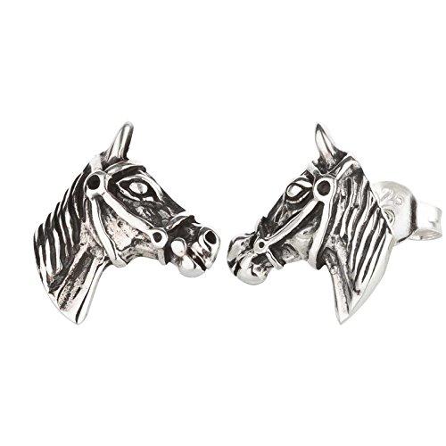 FIVE-D Ohrringe Ohrstecker Pferde mit Zaum aus 925 Sterling Silber im Schmucketui