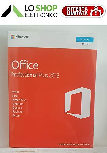 Office 2016 Professional Plus Box - Sigillato - Contiene Key-Card di Licenza - Attivazione Online - Italiano