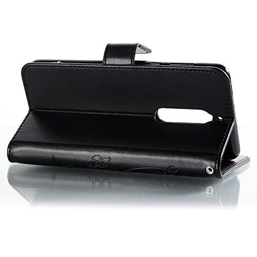 Solid Color Faux Leder Bookstyle Brieftasche Stand Case mit geprägten Blumen & Lanyard & Card Slots für Nokia 5 (N5) ( Color : Brown ) Black