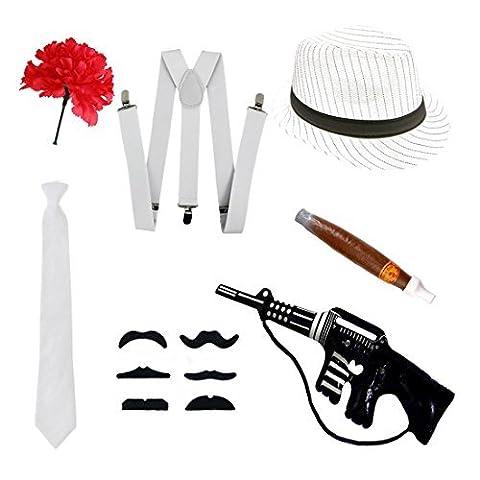 Gangster Fancy Kleid Set-Trilby Hut, Krawatte, Hosenträger, Zigarre, Schnurrbart &