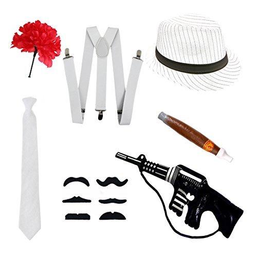 Gangster Fancy Kleid Set-Trilby Hut, Krawatte, Hosenträger, Zigarre, Schnurrbart & (Erwachsene Hut Capone)