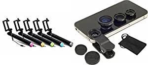 MIRZA Selfie Stick & Mobile Lens for SAMSUNG GALAXY NOTE IISelfie Stick,Black Selfie Stick & AUX Selfie Stick   Mobile Lens   Macro Lens   Fish Eye   Wide Angle   3 In 1 Clip Lens )