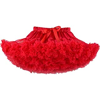 ACVIP Children Girls' Fluffy Layered Ruffle Tulle Ballet Dance Tutu Skirt (M(5-7 Years), Red)