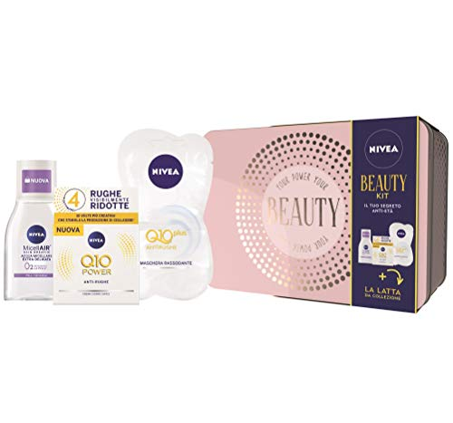 Nivea Beauty Set Regalo Donna con Nivea Q10 Power Anti-Rughe Crema Giorno Viso 50 ml, MicellAIR Skin Breathe Acqua Micellare Extra-delicata 100 ml e 2 Pezzi di Q10 Plus Antirughe Maschera Rassodante