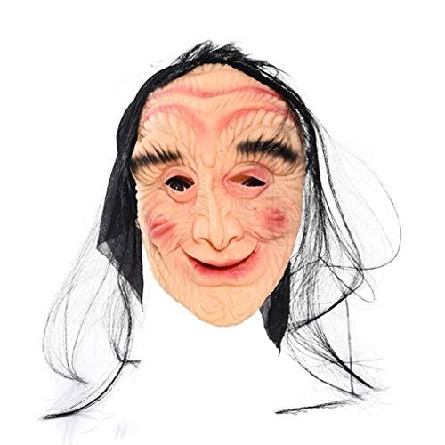 (LTOOLA Halloween Masquerade Maske Natürliche Umweltfreundliche Ungiftige Horror-Geister Maske Ganze Person Horror Latex Wig,A)