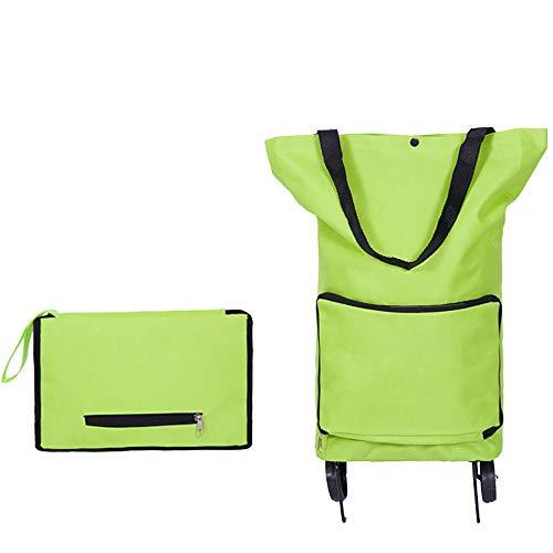 KDMB Einkaufstrolley Klappbar Faltbar,2 Wheel Trolley Handwagen Klappbar Klein 30 Liter Einkaufswagen Wagen Einkaufstasche Stabiler Abnehmbare Tasche Shopper(Deluxe Green) -