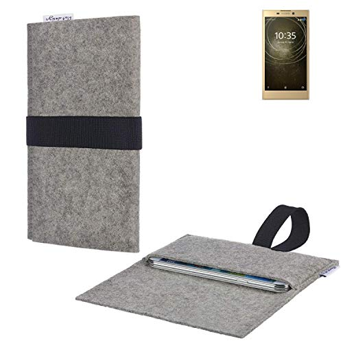 flat.design Handy Hülle Aveiro für Sony Xperia L2 Dual-SIM passgenau Handytasche Filz Tasche fair schwarz hellgrau