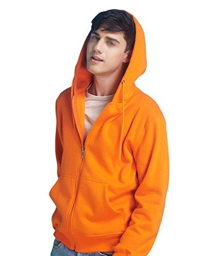 LaoZan Unisex a Maniche Lunghe Felpa con cappuccio con zip - cappuccio con cerniera - in pile Orange