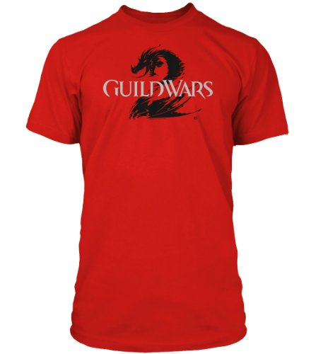 Guild Wars 2 T-Shirt - Logo Black on Red, Größe L (Guild Wars Mac)