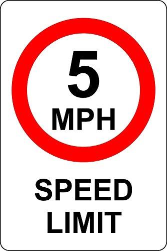 5MPH Speed Limit Safety Sign Schild aus Aluminium-3mm mit 2Streifen Ausgestattet zu hinten für die Montage auf Post 400mm x 300mm -