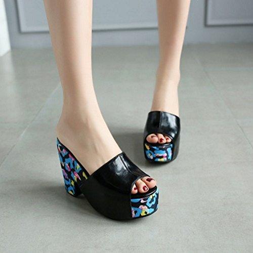 Schuhe Mode Coolcept Toe Schwarz Slip Blockabsatz Sandalen On Open Damen
