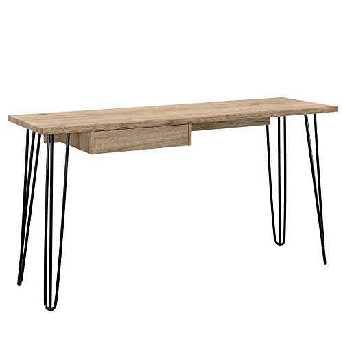 Konsole Metall Mit Tisch ([en.casa] Stylischer Schreibtisch mit Schublade (140x45cm) - Eichenoptik Design PC Konsole)