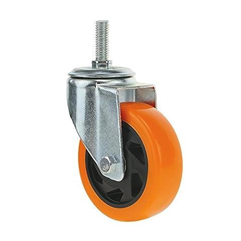 Cablematic - Roulettes pivotantes roue industrielle en polyuréthane sans frein 100 mm M12