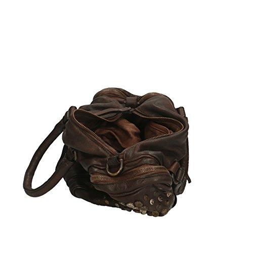 Chicca Borse Luxury Edition Handbag Vintage Borsa a Mano da Donna in Vera Pelle 100% Genuine Leather 34x28x16 Cm Testa Moro